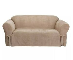 """Soft Suede Sofa Slipcover Sure Fit TAUPE for 74""""-96"""", Box Cushion, Relaxed Fit"""
