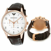 Men's Emporio Armani Watch Brown Leather Band Rose Gold 43MM $345