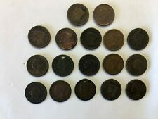 Lot of (17) Large Cents Penny 1C Coins Circulated all Conditions