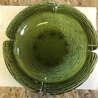 VTG LG Emerald Green Round Ashtray Heavy Cigar Cigarette Thick Glass 8.75""