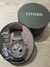 New Citizen Eco-Drive Navihawk Chrono Black IP Bracelet Men's Watch JY8037-50E