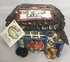 Blue Sky Ceramic Heather Goldminc 2003 Good Ok' Dogs Garage T-lite Holder Nwt