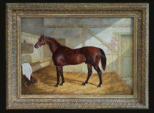 Antique Oil Painting, Portrait of a Bay Horse in a Stable