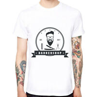 Hipster Barber Shop Men's Cotton Funny Cool T-shirts Short Sleeve Tops Tee