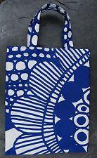 Handmade Siirtolapuutarha small tote bag purse Marimekko fabric Finland blue