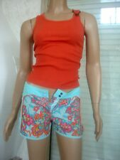 SHORT DECATHLON TURQUOISE/ORANGE FLASCHY + TOP ORANGE NEUF TS 34/36 12 ANS