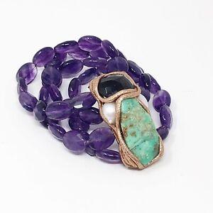 Artisan Custom Piece 4 Strand Amethyst Stone Turquoise Pearl Stretch Bracelet