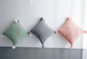 Solid Color Knitted Diamonds Cushion Cover Decorative Pillow Case With Pom-pom