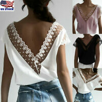Sexy Women Lace V Neck Short Sleeve Blouse Ladies Summer Backless T Shirt Tops