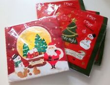 60 sheets Cute Christmas paper napkin with hot stamping 2 designs