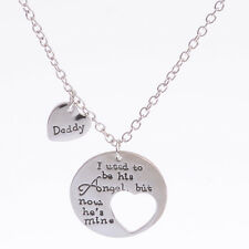 Father Dad Daddy Is My Angel Silver Heart Pendant Necklace Men Jewelry Xmas Gift
