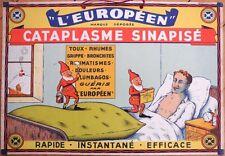 1930s French Advertising Sign w/Gnomes - 'Cataplasme Sinapise' - Drug/Pharmacy