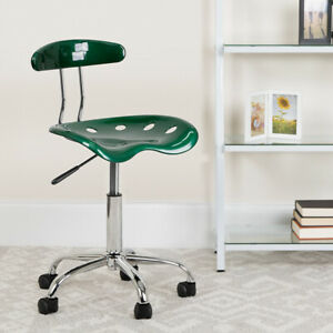 Vibrant Green and Chrome Swivel Task Office Chair with Tractor Seat