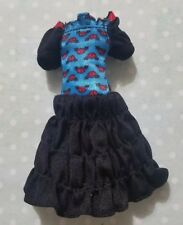 MONSTER HIGH DOLL CLOTHING FREAKY FUSION GHOULIA YELPS BLUE RED & BLACK DRESS