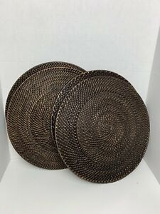 Rattan Woven Chargers Set of 4 Patio Plates Placemats Home Garden Boho Decor