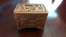 Small Vintage Carved Wooden Treasure/Trinket Chest/Jewellery Box Handmade