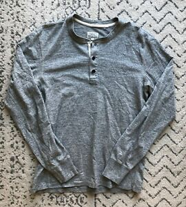 Rag & Bone New York heather gray long sleeve henley shirt (size: M)