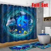 4PCS Shark Deep Sea Waterproof Shower Curtain Pedestal Rug Bath Mat Toilet Cover
