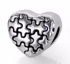 Autism Awareness Silver Puzzle Piece Bead Fits European Charm Bracelets