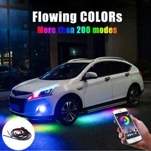 Car RGB LED Strip Underbody Under Glow Neon Light Kit 90/120cm App Control Decor