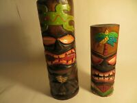 Set of Two Decorative Painted Wooden Tiki Candle Holder Totems