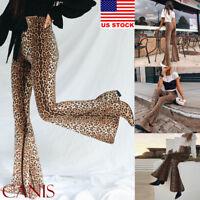 Women's Skinny Flare Leopard Print Bell Bottom Stretch High Waist Pants Trousers
