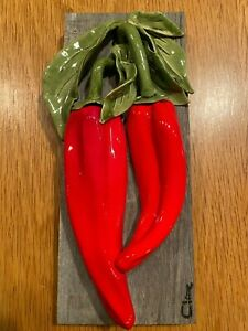 Original Carol Cline Ceramic Hand Sculpted Large Red Chili Peppers Vegetable NEW