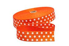 1 m Gurtband in orange mit weißen Sternen  - 30 mm