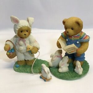 SWEET Cherished Teddies LOT of 2 Harvey reads to bunnies and Trudy with pull toy