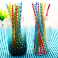 10X Colorful Reusable Hard Plastic Stripe Drinking Straw Clean Wedding Party