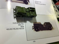 "1958 Tootsie Toy CJ3 Army Jeep 3"" Long Nice"