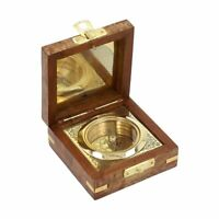 Home Decor Handcradfted Wooden Box with Built in Goldtone Compass Gifts for Dad