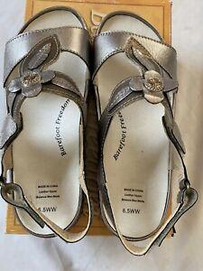 Drew Barefoot Freedom Alana Pewter/bronze Leather Sandals Womens Size 6.5WW