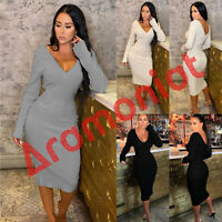 Dress Midi Knitted Jumper Ladies Long Sleeve V Neck V Back Bodycon Cable Knit