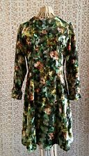 VTG Jirow Velvet Dress Floral Pattern Green Brown Yellow