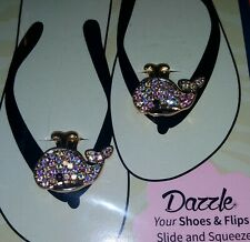 Sassy Clips Flip Flop Fun Bling Gold Whale Shoe Charms dazzle your shoes new