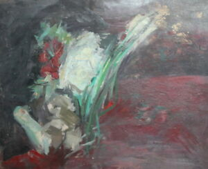 Vintage expressionist oil painting still life