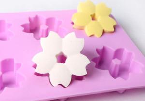 6 balls cherry blossoms Silicone soap Mould plaster Mold