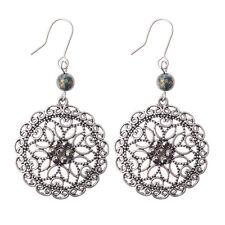 Bohemian Boho Crystals Hollow Carved Flower Women Bronze Dangle Hook Earrings