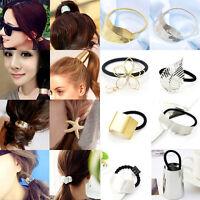 Women Lady Metal Flower Leaf Hair Band Rope Headband Elastic Ponytail Holder New