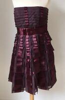 Karen Millen Ladies Wine Red Silk Pleat Ribbon Strapless Shutter Dress UK 12