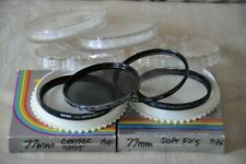 Lot 4 77mm Asst Lens Filters UV, Soft, ND 4X, Center Spot Pre Owned READ V Good