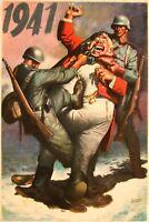1941 WW2 USA AMERICA BRITISH WINSTON CHURCHILL NAZI AXIS ARMY SODLIER Postcard
