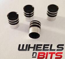 Negro y Plata A rayas Aluminio Tapón De La Válvula Adecuado Para BMW Coches Vans