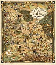 1948 pictorial map Bavaria Hesse Wurtemberg-Baden US zone WW2 POSTER 8147000