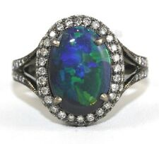Oval Black Fire Opal & Diamond Solitaire Ring 18k White Gold 2.75Ct