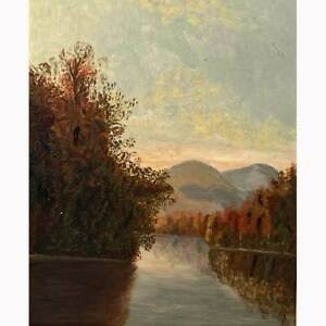 Antique Hudson River School  White Mountains Style Oil On Artist Board Painting