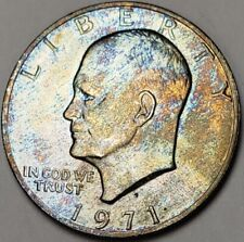 1971-S EISENHOWER ONE DOLLAR HIGH GRADE BU UNC MULTI-COLOR TONED COIN