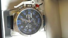 INGERSOLL BISON #33 BLUE /BLACK DAY/DATE GMT AUTOMATIC WATCH ON LEATHER STRAP