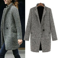 Women Winter Warm Wool Lapel Long Coat Trench Parka Jacket Overcoat Outwear Plus